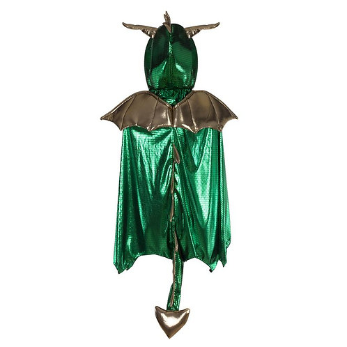 Great Pretenders Shimmering Dragon Cape, green back view