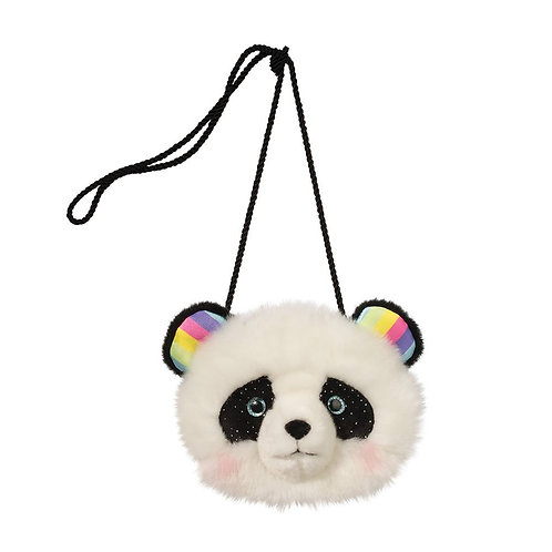 Fuzzy black and white purse in shape of panda's head with bead eyes and rainbow ears on long black cord strap