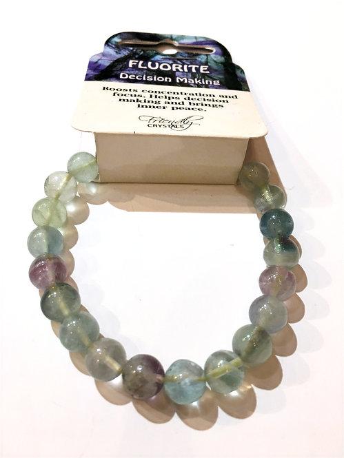 Close up of fluorite Natural Stone Bead Stretch Bracelet
