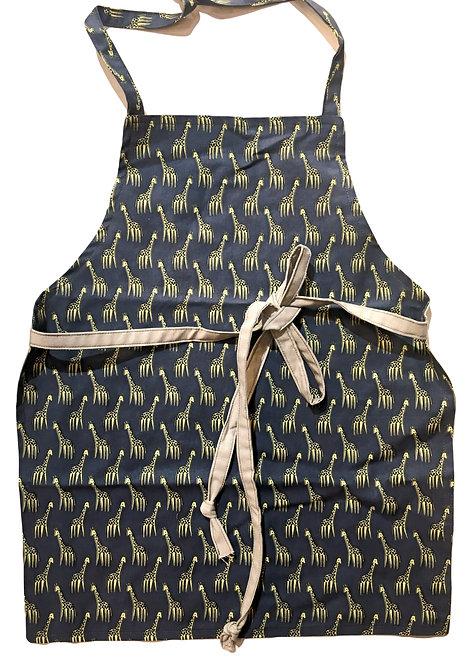 Child's apron navy with yellow giraffes print