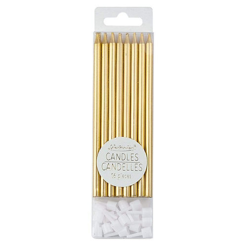Clear plastic box of 16 metallic gold candles