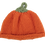 Orange Hand Knit Infant Hat with green stem on top to look like a pumpkin laid flat