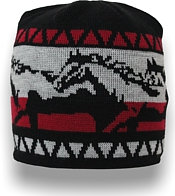 Knit toque with horses pattern all around the head, red gray and black
