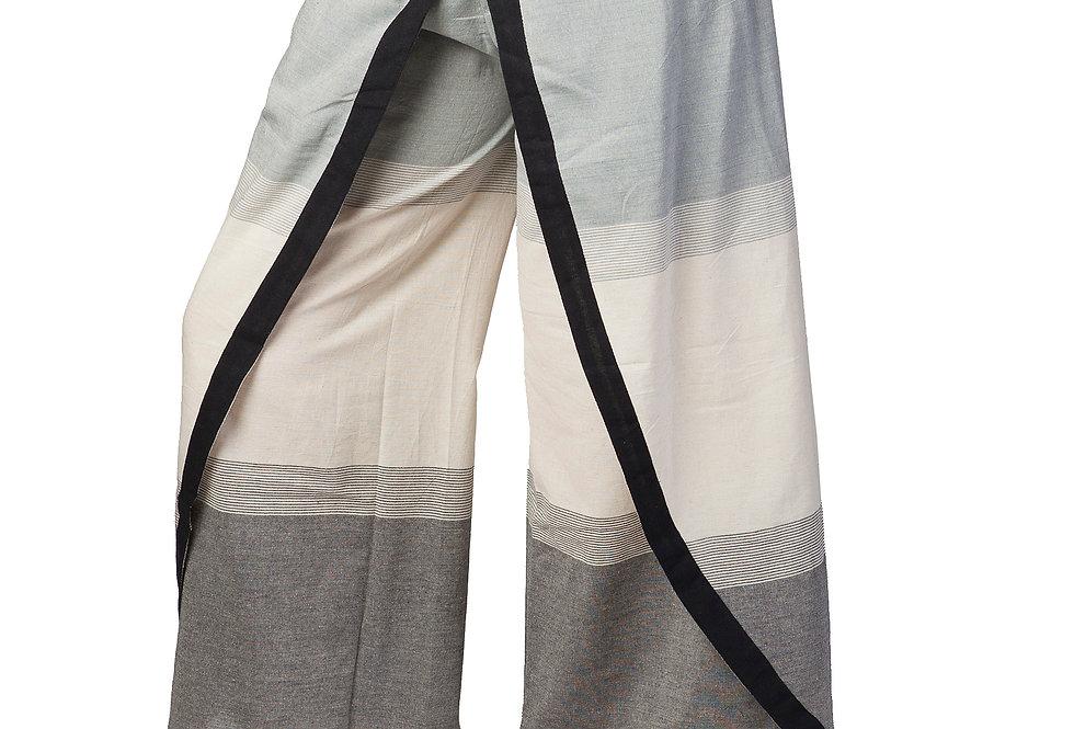 Fair Trade wrap style pant natural and gray with black trim at hem and along edge of wrap-elastic back 1 pocket