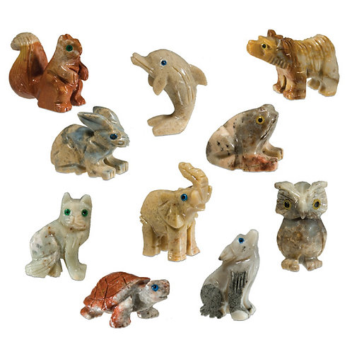 group of all Nature's Expression Hand Carved Mini Stone Animals