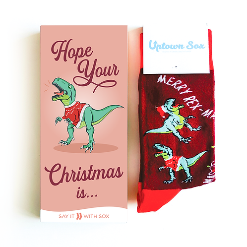 Red card with green dinosaur says Hope your Christmas is... & pair of dark red socks with green dino print