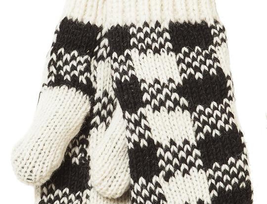 Knit wool mitts-black & white check pattern-red stripe around wrists