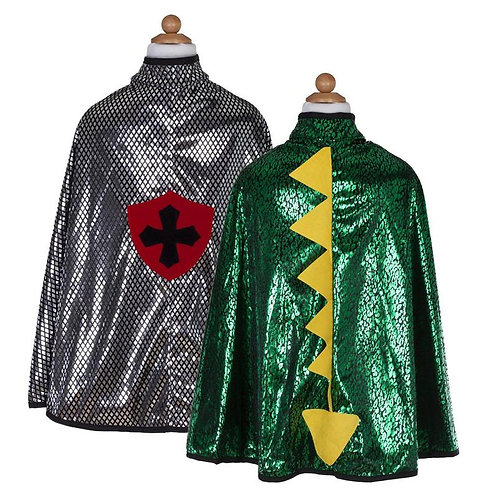 2 Reversible Dragon/Knight Capes, one metallic gray with red crest, the other shiny green with yellow dragon spines