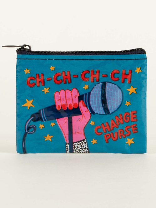 Blue coin purse with image of hand holding microphone, text - CH-CH-CH-CH Change Purse
