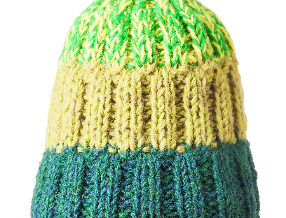 Rib knit wool toque with pompom in 4 wide horizontal stripes of varying shades of green