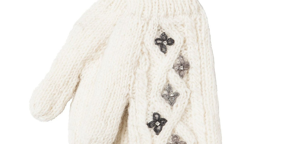 Natural white cable knit wool mitts, 5 small 4-petal flowers stitched on in light & dark gray, leather tag with Ark logo