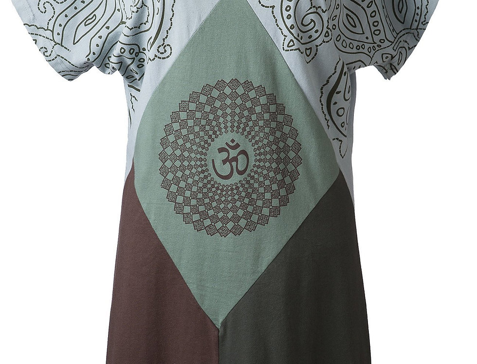 Ark Fair Trade Almonde Dress green with short sleeves V neck large diamond pattern with om symbol on the front