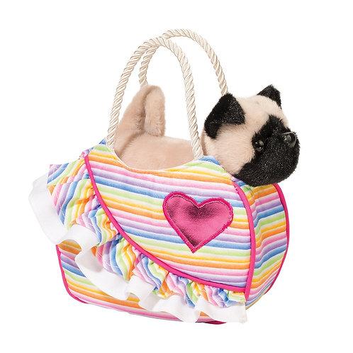 Douglas Toys Love Rainbows Sassy Pet Sak with Pug