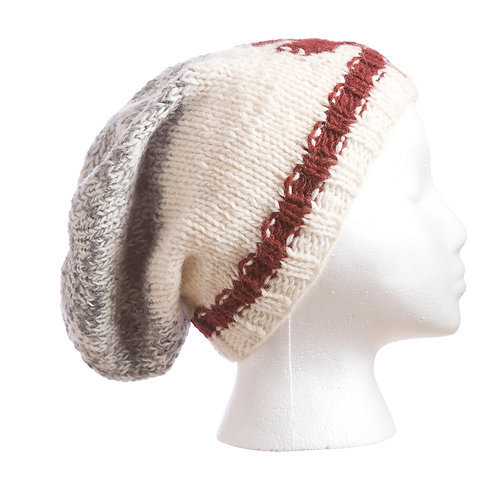 Knitted wool slouch hat gray & white with red band around cuff & red maple leaf