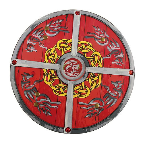 Round Ninja foam Shield-silver and gold design on red background