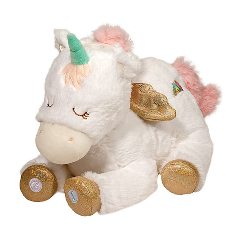 White unicorn musical plush toy with pink & aqua mane & tail and gold hooves