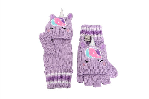 Mauve knit fingerless gloves with flap over fingers & unicorn face with horn on backs