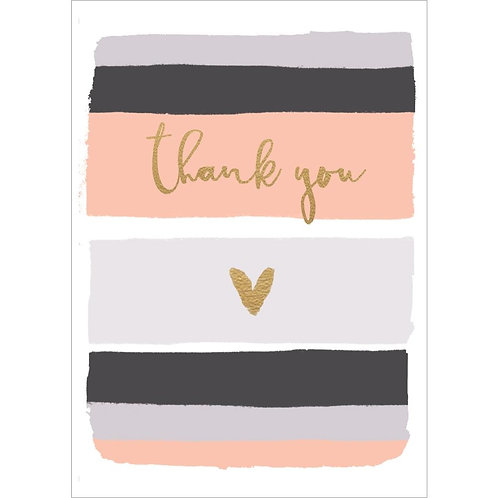 gray, black, peach horizontal stripes, gold text 'Thank you' and gold heart