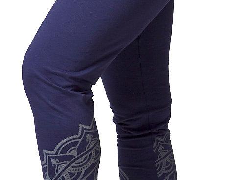 Ark Fair Trade Riga Leggings-blue with silver gray mandala design on lower calf