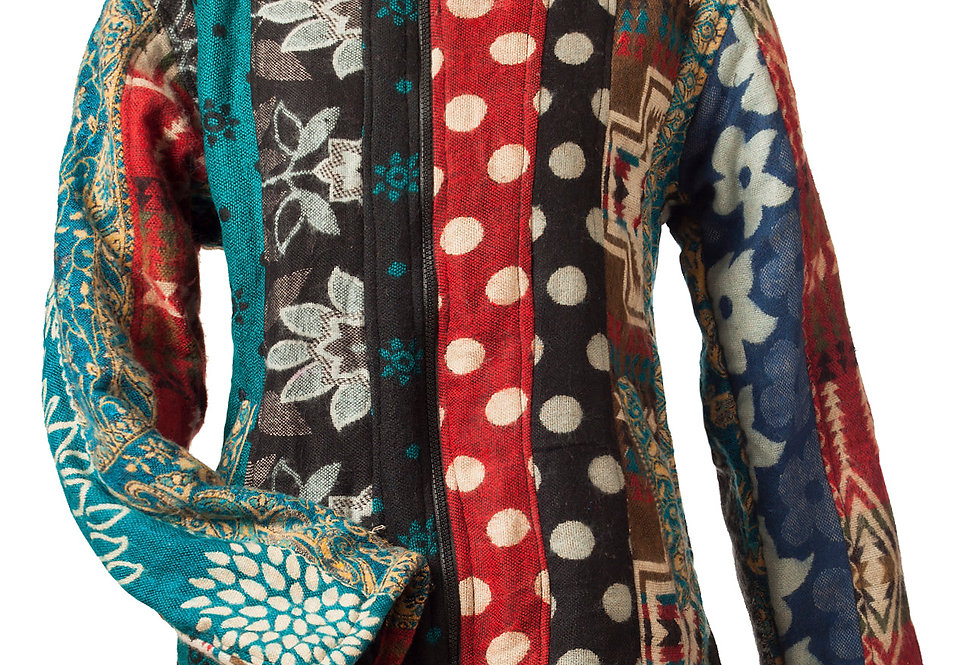 Ark Fair Trade Verti Patch Jacket-zip front & hood-teal black & red vertical rows of floral and polka dot patches