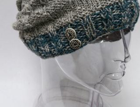 Gray knit wool slouch hat with teal ribbed cuff & 2 metal buttons accent