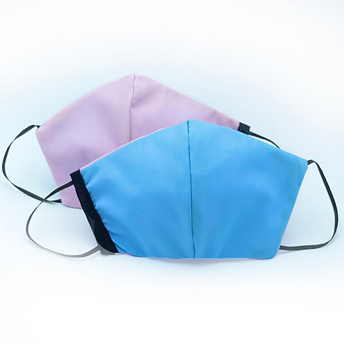 2 cotton reversible protective face masks showing plain pink on one side & plain blue on the other