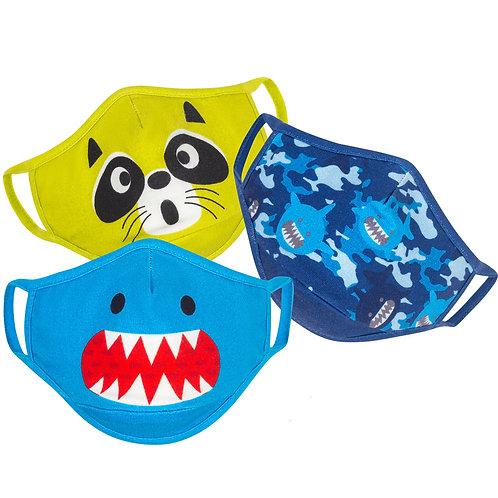 3 kids masks-blue shark face-lime raccoon face-blue with 3 sharks
