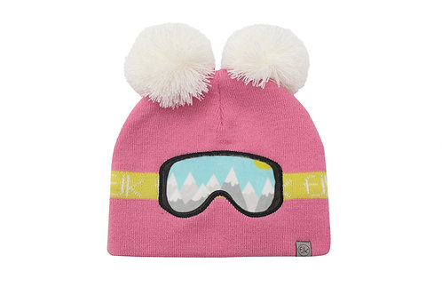 Pink knitted toque with 2 white pompoms & yellow stripe & ski-goggles stitched on front reflecting alpine view