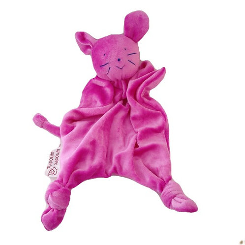 Papoum Papoum Bamboo velour Mouse shaped Blanket toy, bright pink
