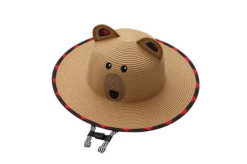 Top view of Child's natural color straw hat with bear face stitched on & ears, chin strapc