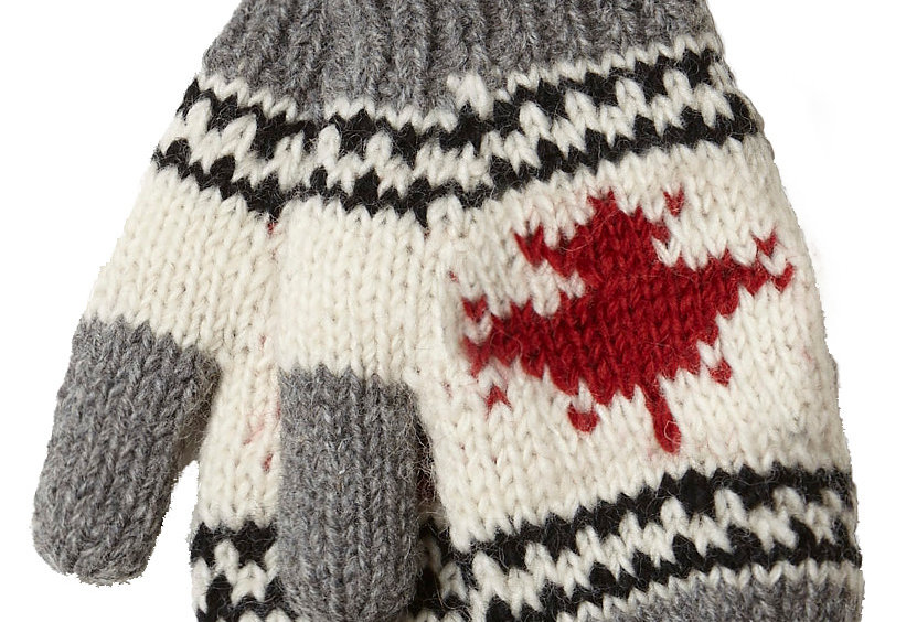 Gray, black, red & white wool knit mitts with maple leaf on back of hand
