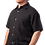 Male modeling cotton shirt-short sleeves-buttons down the front-solid black cotton