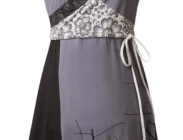 sleeveless V-neck dress in colour blocks of black, charcoal & gray, drawstring waist, knee length