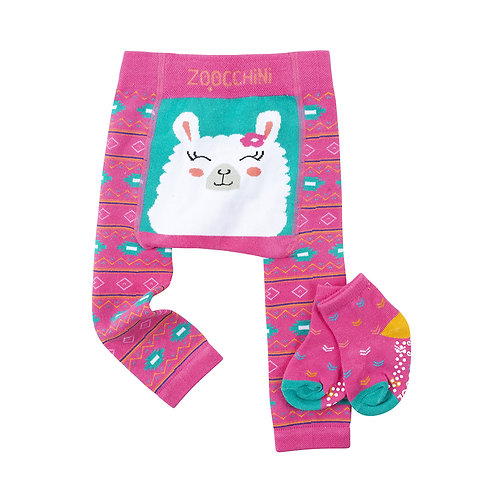 Set of pink leggings with teal & white pattern & white llama face on seat with matching socks