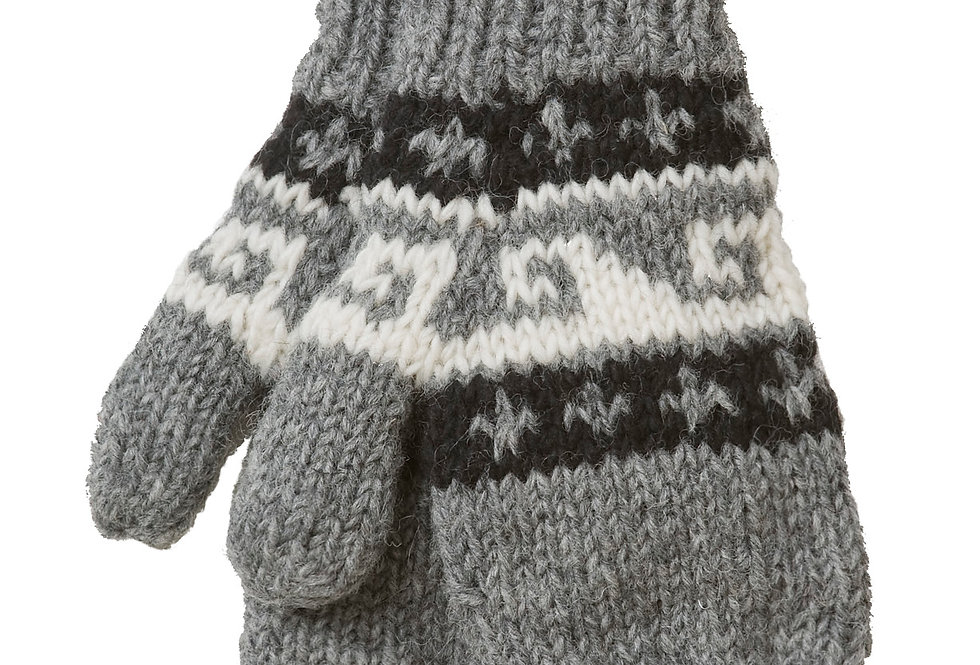 Knit wool mitts-gray with 2 rows of black with white fleur-de-lis either side of a row of white with gray wave pattern