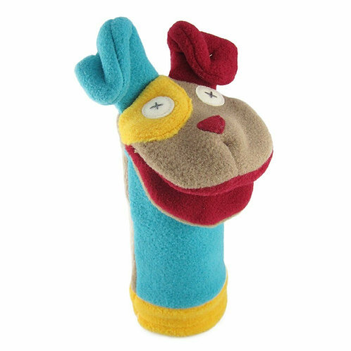 blue, yellow, red & brown polar fleece hand puppet  with happy dog face & ears