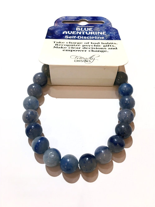 Close up of blue aventurine stone bead stretch bracelet
