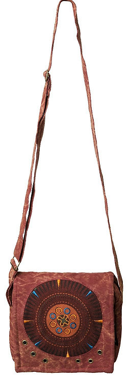 full view of Fair Trade Mandala Shoulder Bag-burgundy-round embroidered design on foldover flap of bag, long adjustable strap