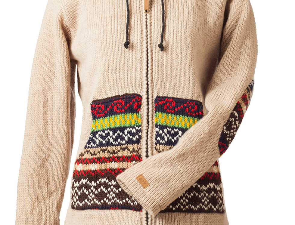 Front view of knitted wool Fair Isle Cardigan-zipper front-hood-drawstring-beige-bands of lime red black patterns