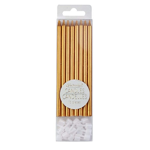 Clear plastic box of 16 metallic copper candles