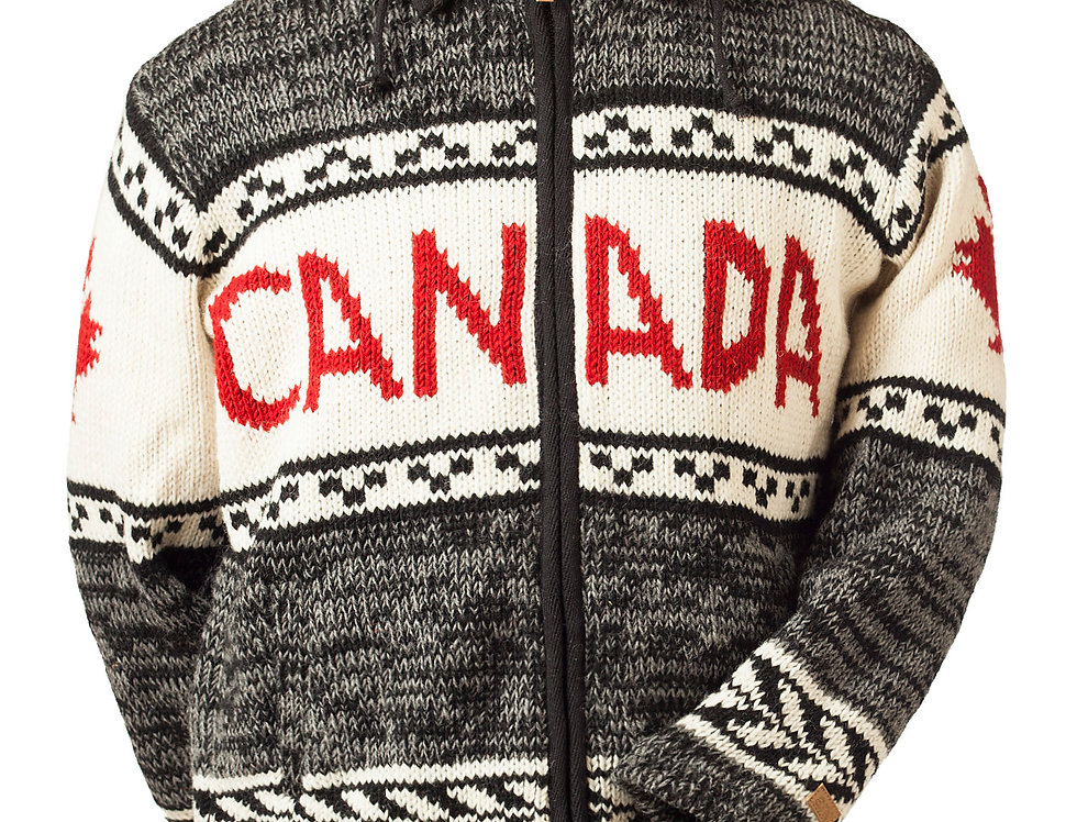 Front view thick knit wool Cardigan-zipper-2 pockets-hood-black/gray-CANADA in red across chest-red maple leaf on sleeves