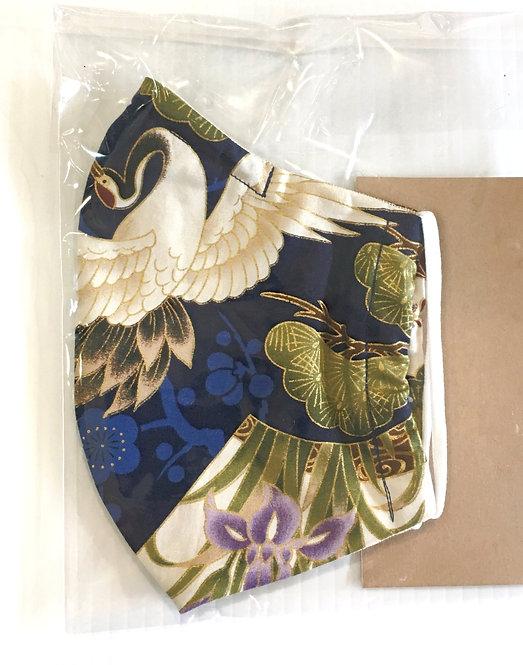 Reusable Protective Mask - Elegant Navy Bird in plastic package