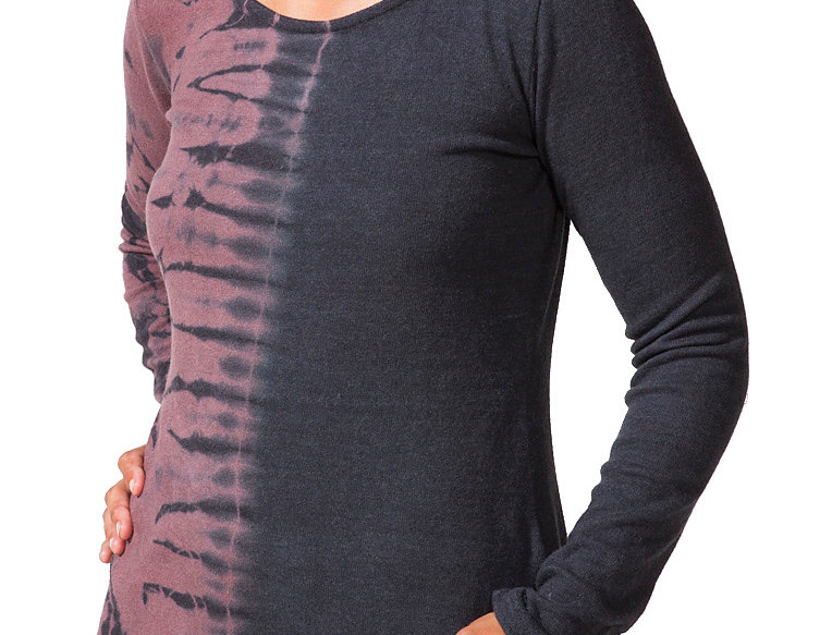 Front view of model wearing long sleeve round neck fitted top-brown tie-dye on right half-black the other