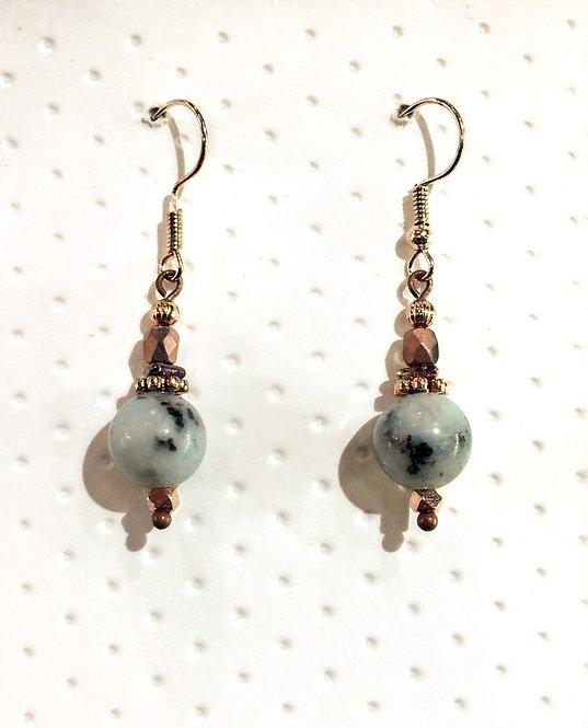 Rose gold earrings with 10mm sesame jasper stones