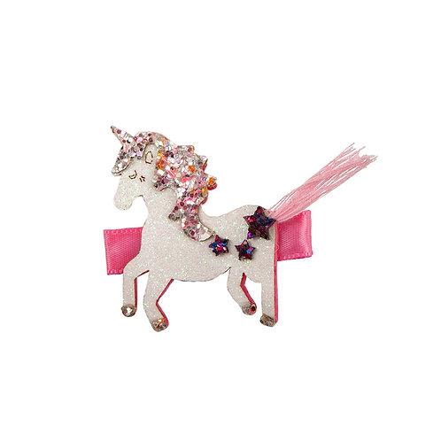 Pink & white sparkly unicorn hair clip