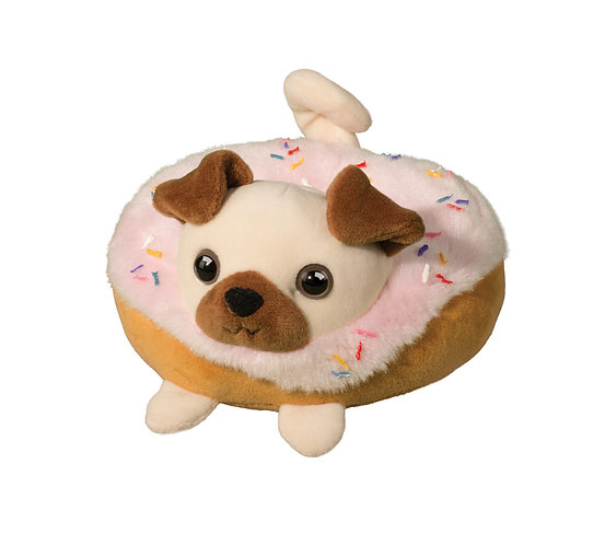 Stuffed animal in shape of pink sprinkle donut with brown & white pug head, legs & tail