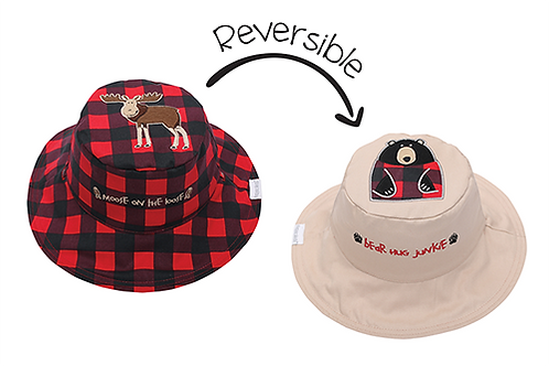 Flapjack Kids 2 in 1 Moose / Black Bear Reversible Baby & Kid Sun Hat both sides