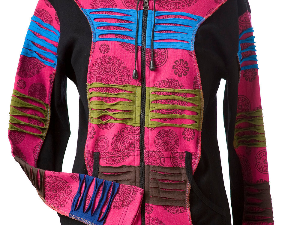 Ark Fair Trade Middle Patch Hoodie front zip-hood-black with wide pink stripes either side of zipper-ripped-torn effect