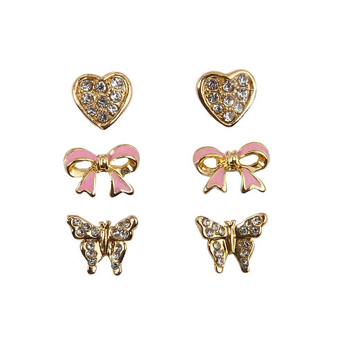 3 pairs of stud earrings-hearts, bows & butterflies