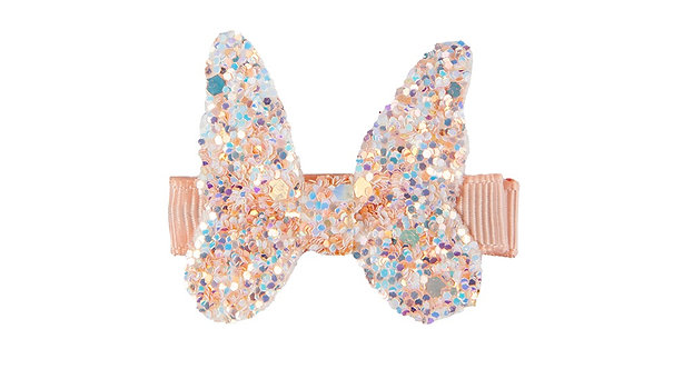 Pink sparkly butterfly hair clip
